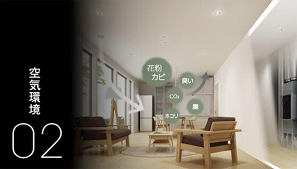 計画換気システムにより家のすみずみまで健やかな空気を保つ